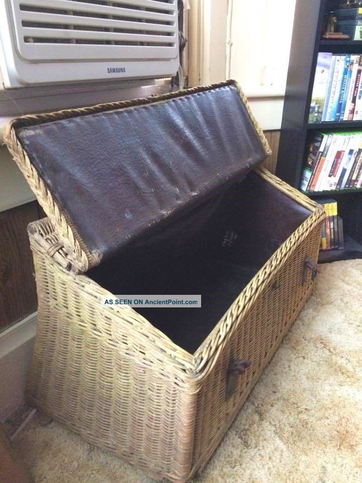 Antique Vintage Wicker Trunk From Model - T Ford Car (circa Early 20th Century) 1900-1950 photo