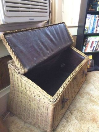 Antique Vintage Wicker Trunk From Model - T Ford Car (circa Early 20th Century) photo