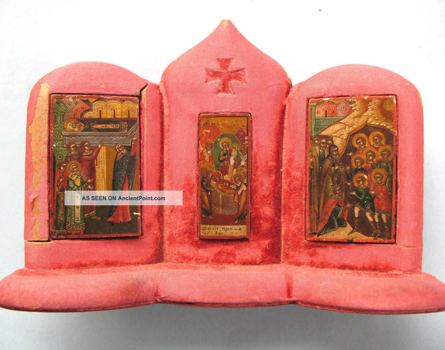 Rare 1825 Imperial Russian Palekh Miniature Icons In Wooden Casing,  Signed Byzantine photo