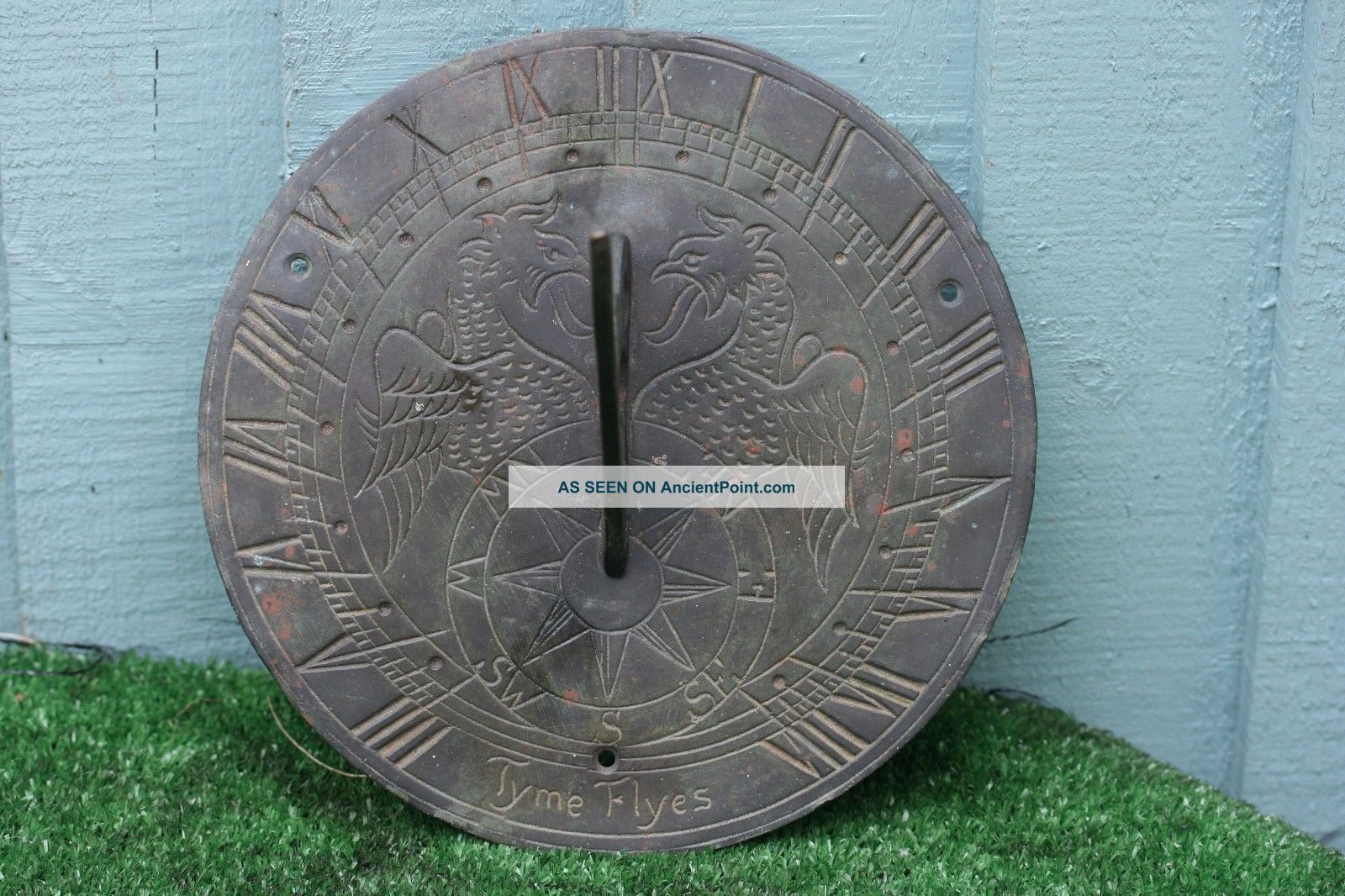 19thc Gothic Bronze Circular Sundial With Winged Gargoyles & Other C1890s Metalware photo