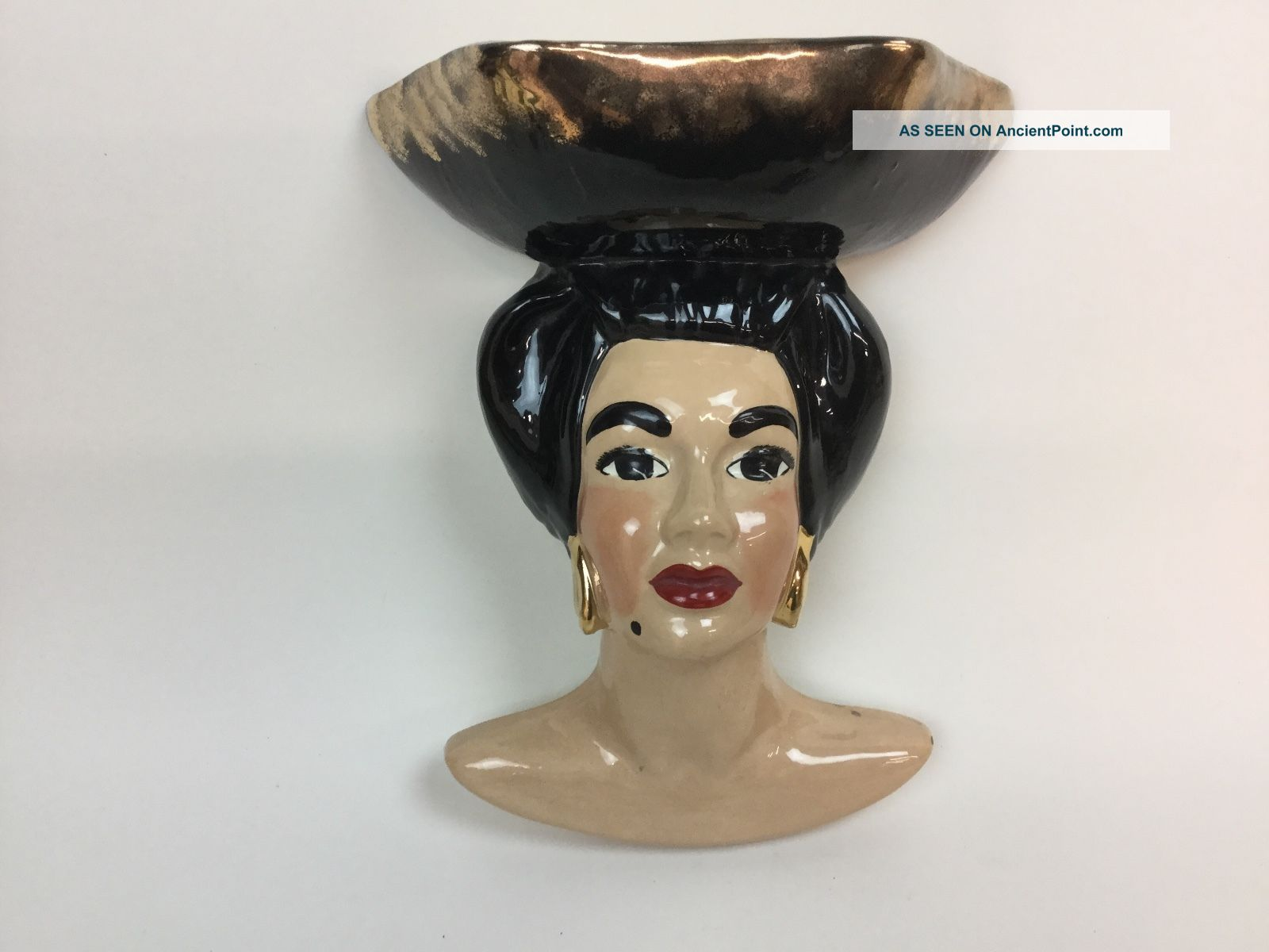 Vtg Head Vase Wall Pocket Hand Painted Unmarked Beauty Goddess Victorian photo