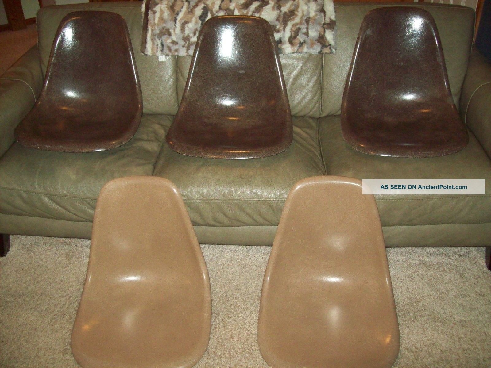 5 Herman Miller Mid Century Fiberglass Eames Brown Mocha Umber Chair Shells Mid-Century Modernism photo