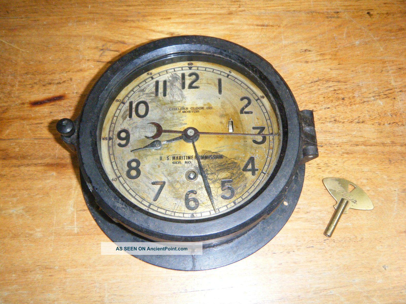 Vintage Chelsea Us Maritime Commission Boston Ship Ships Clock Bakelite Case Clocks photo