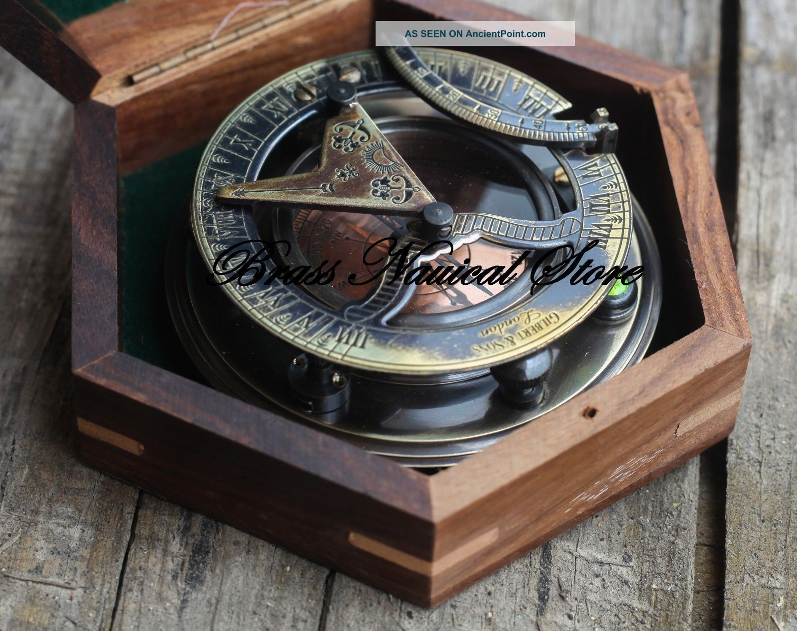 Antique London Antique Brass Sundial Compass Nautical Compass Decor Gift Unisex Compasses photo