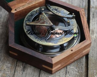 Antique London Antique Brass Sundial Compass Nautical Compass Decor Gift Unisex photo