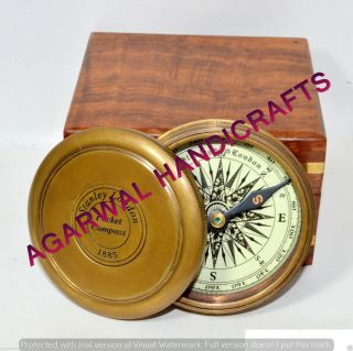 Antique 1885 Pocket Style Vintage London Poem Engraved Brass Compass Unique Gift photo