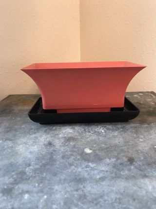 Vintage Mid Century Planter Pink And Black photo