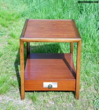 Vintage Mid Century Modern Michael Taylor End Table Nightstand Baker Furniture photo