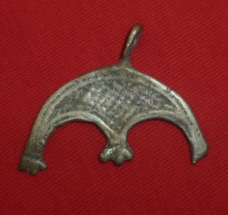 Viking Ancient Artifact Silver Bird Amulet Circa 700 - 800 Ad - 2356 photo