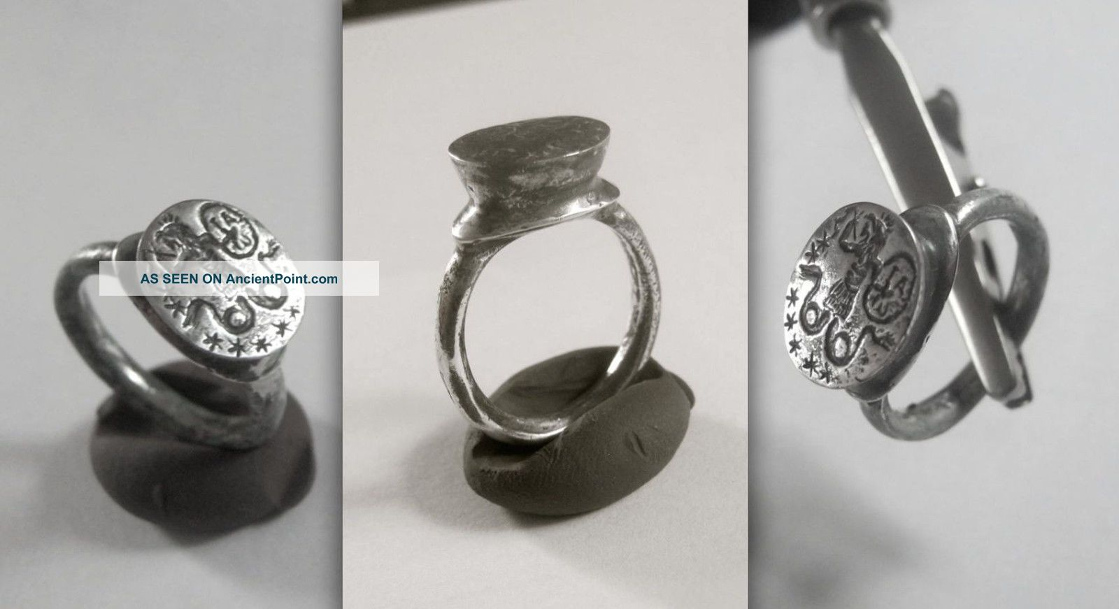 Outstanding Late Byzantine/medieval Gnostic Silver Ring With Cook - Headed Abraxas Roman photo