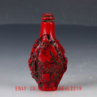 Crusted Chinese Red Coral Handwork Zhong Kui Kill Ghost Snuff Bottle photo