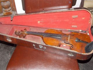 Old Antique 19th C Hand Made Violin Labelled Mat Hardie photo