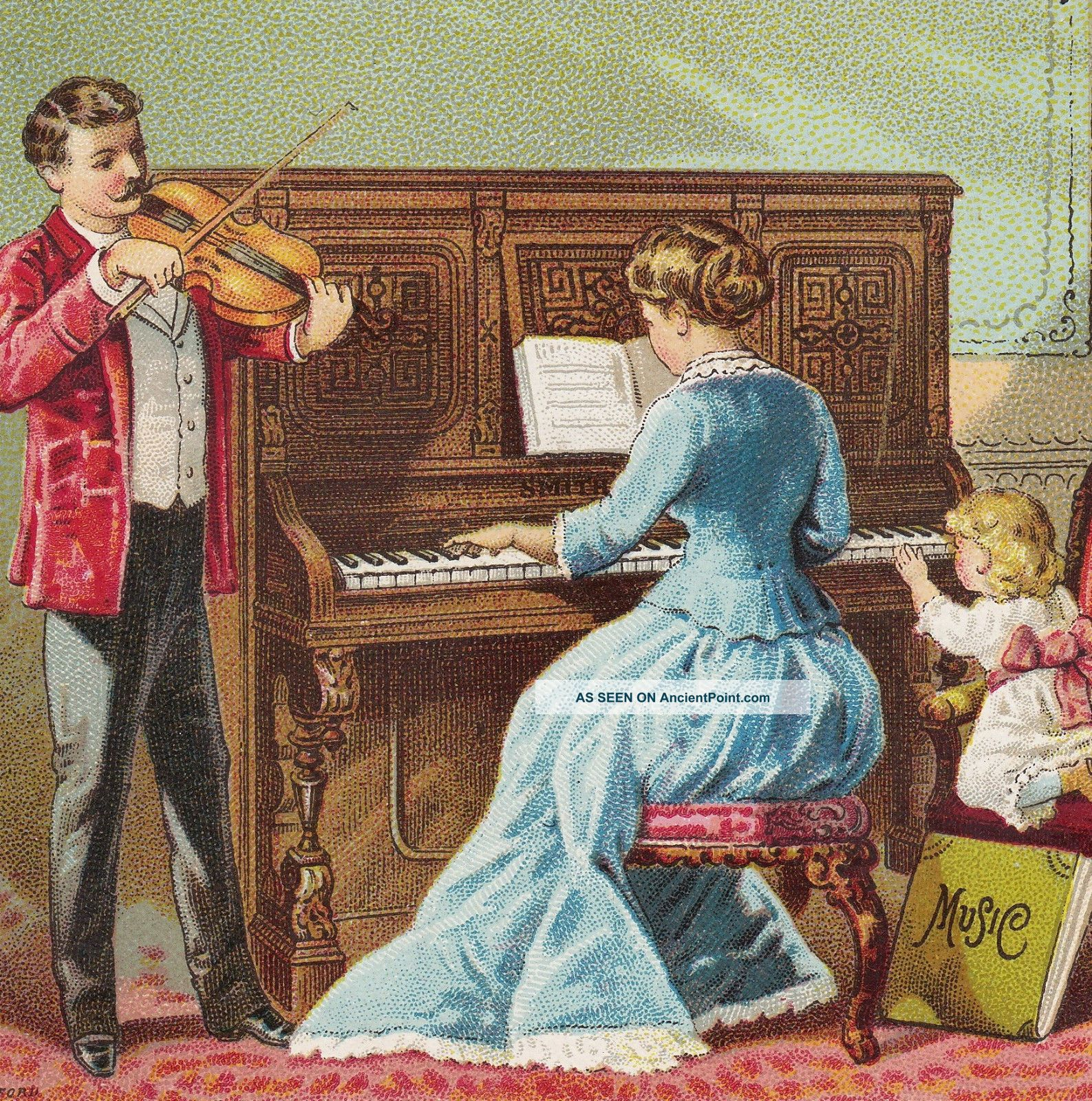 Smith American Organ & Piano Boston Kendrick Trenton Nj Advertising Trade Card Keyboard photo