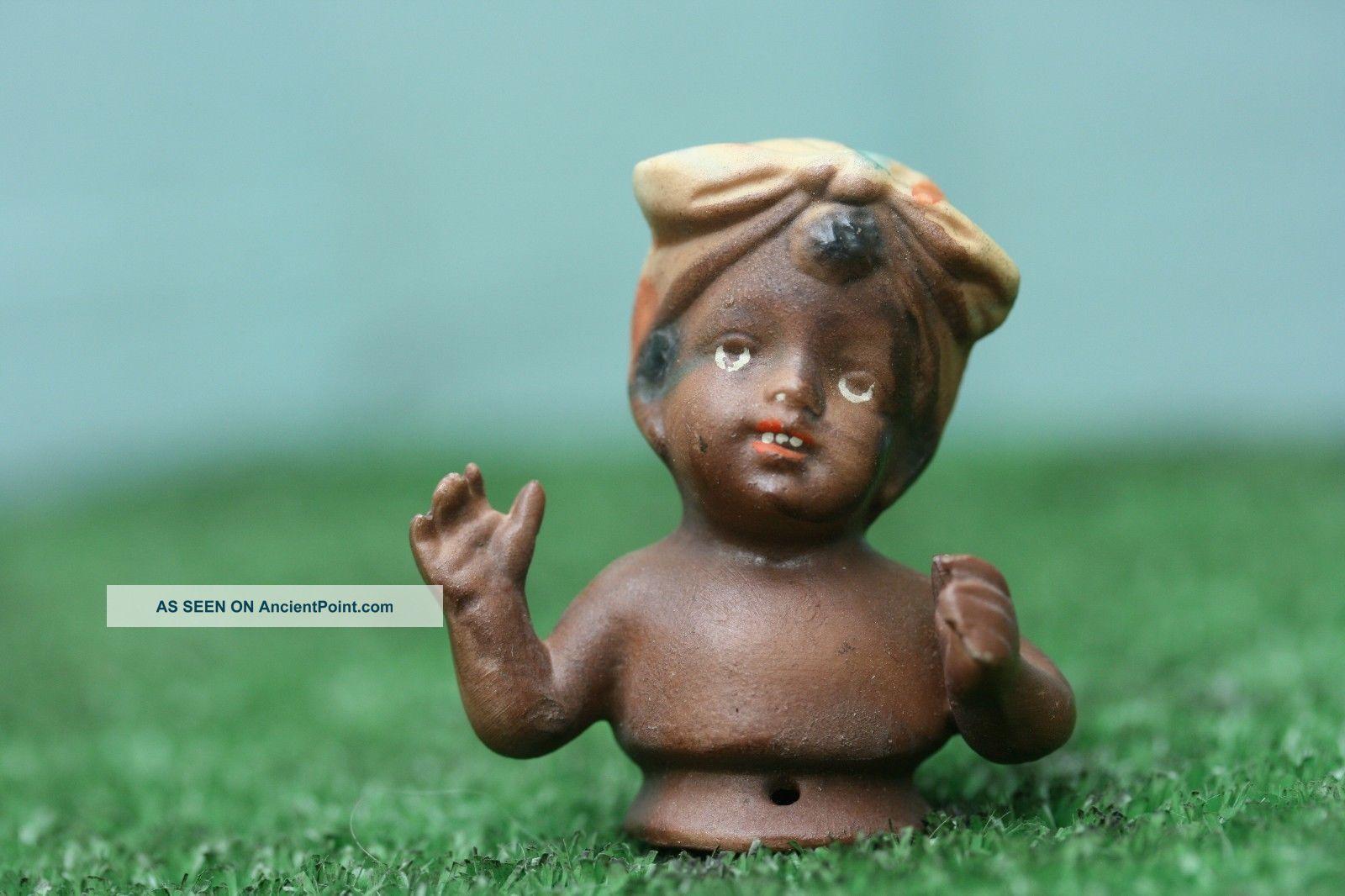 19thc Blackamoor Porcelain Pin Doll Female Figurine C1890s Pin Cushions photo
