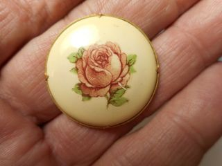 Painted Enamel Rose In Brass Vintage Button 1 - 1/8