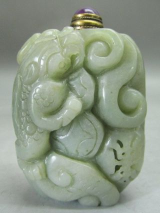 Chinese Hetian Nephrite Jade Carved Dragon Snuff Bottle photo
