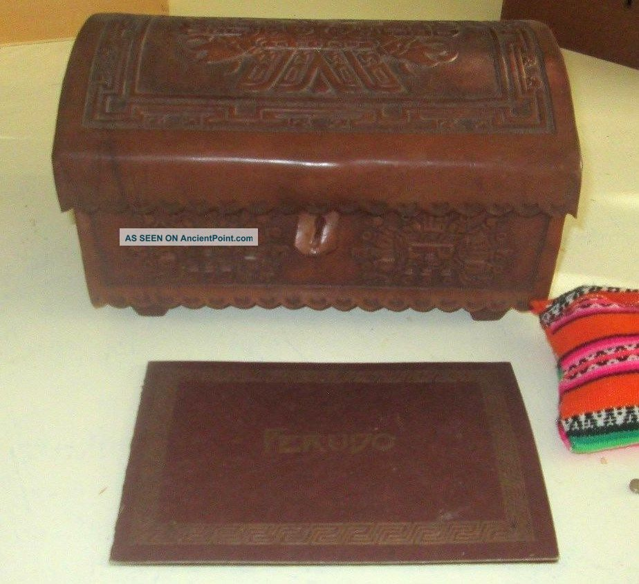 Vintage Peruvian Inca Box Hand Crafted Tooled Leather With Peruda Game Goblets Latin American photo