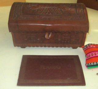 Vintage Peruvian Inca Box Hand Crafted Tooled Leather With Peruda Game Goblets photo