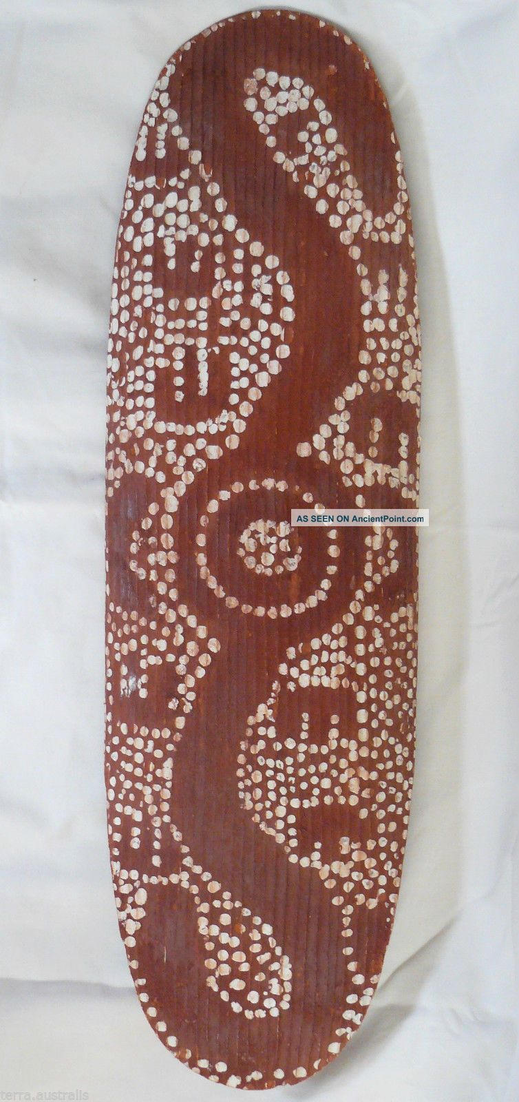 Antique Aboriginal Beanwood Shield Central Desert Ochre Dot Painted Stone Carved Pacific Islands & Oceania photo