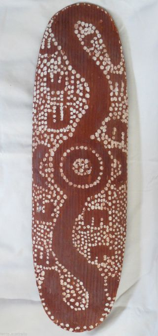 Antique Aboriginal Beanwood Shield Central Desert Ochre Dot Painted Stone Carved photo