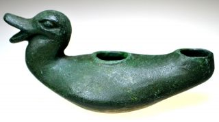 Roman Bronze Oil Lamp Duck Shaped Handle photo