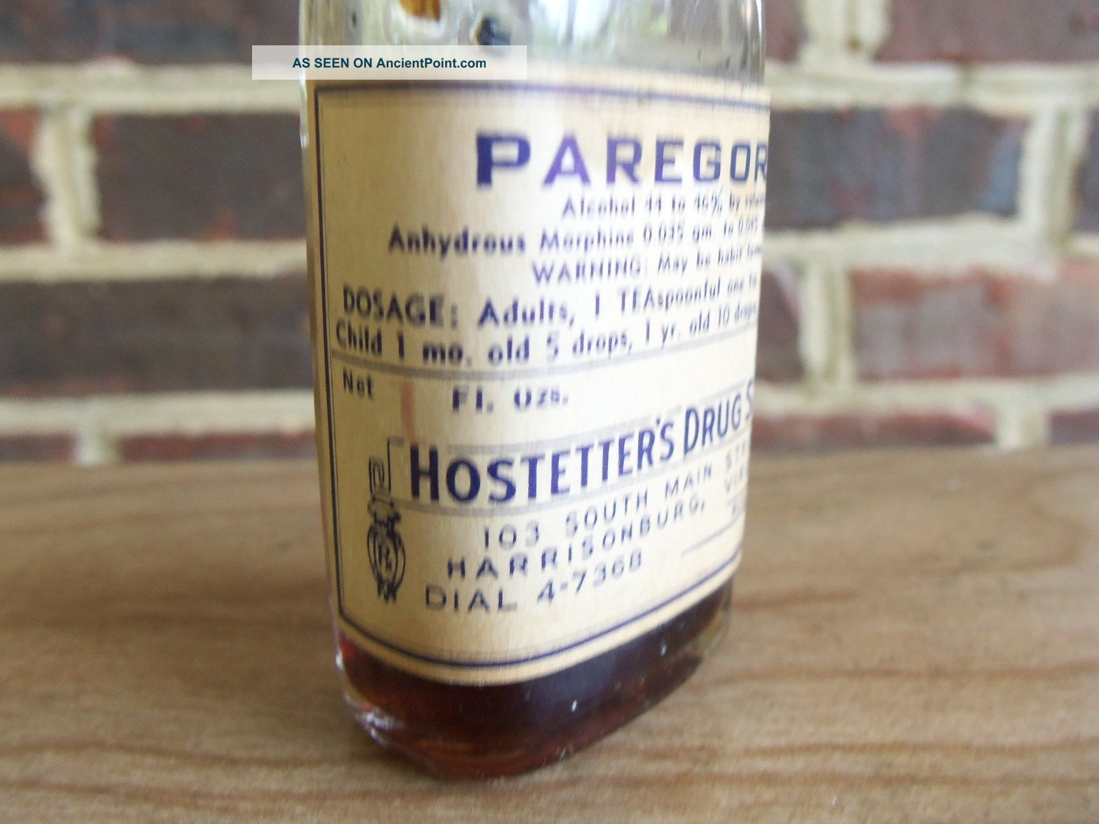 Harrisonburg Virginia Va Pharmacy Bottle Paregoric Hostetter ' S Drug Store Bottles & Jars photo