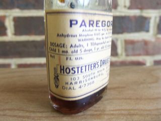 Harrisonburg Virginia Va Pharmacy Bottle Paregoric Hostetter ' S Drug Store photo