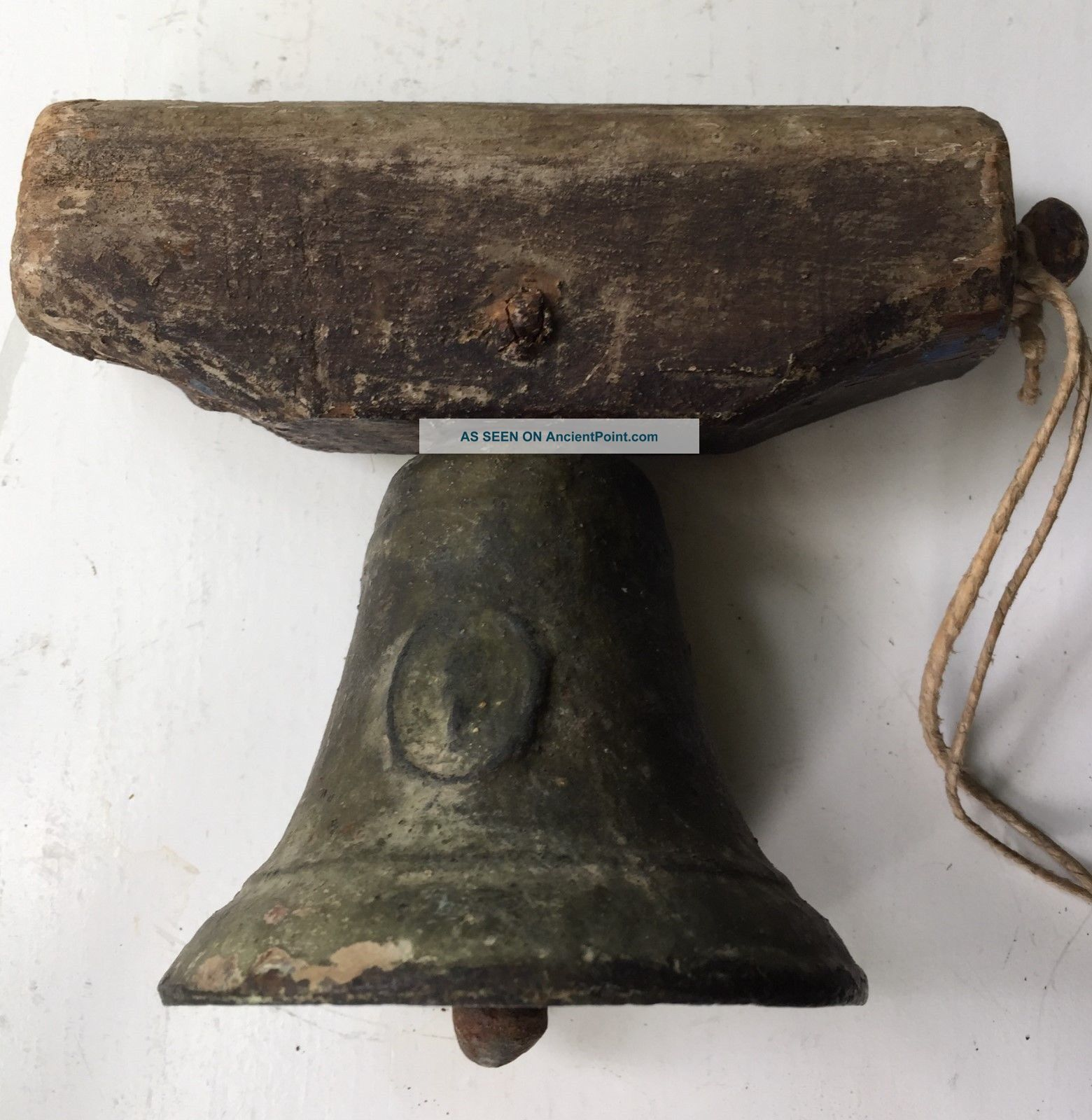 Antique Cast Iron Bell With Primitive Wood Yoke Other Antique Home & Hearth photo