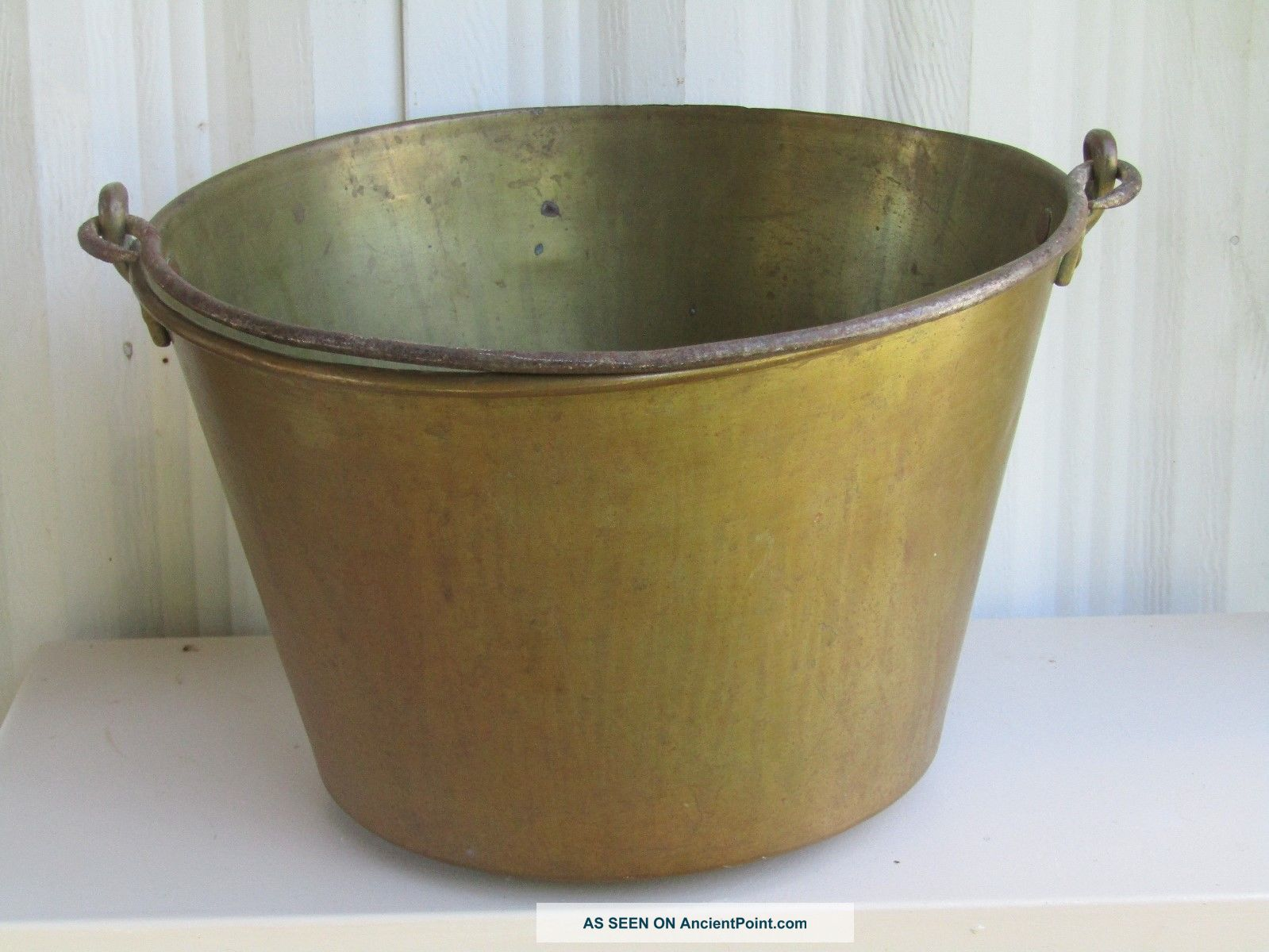 Vintage Brass Bucket / Pat 1866 H.  W.  Hayden Ansonia Brass Co. Hearth Ware photo