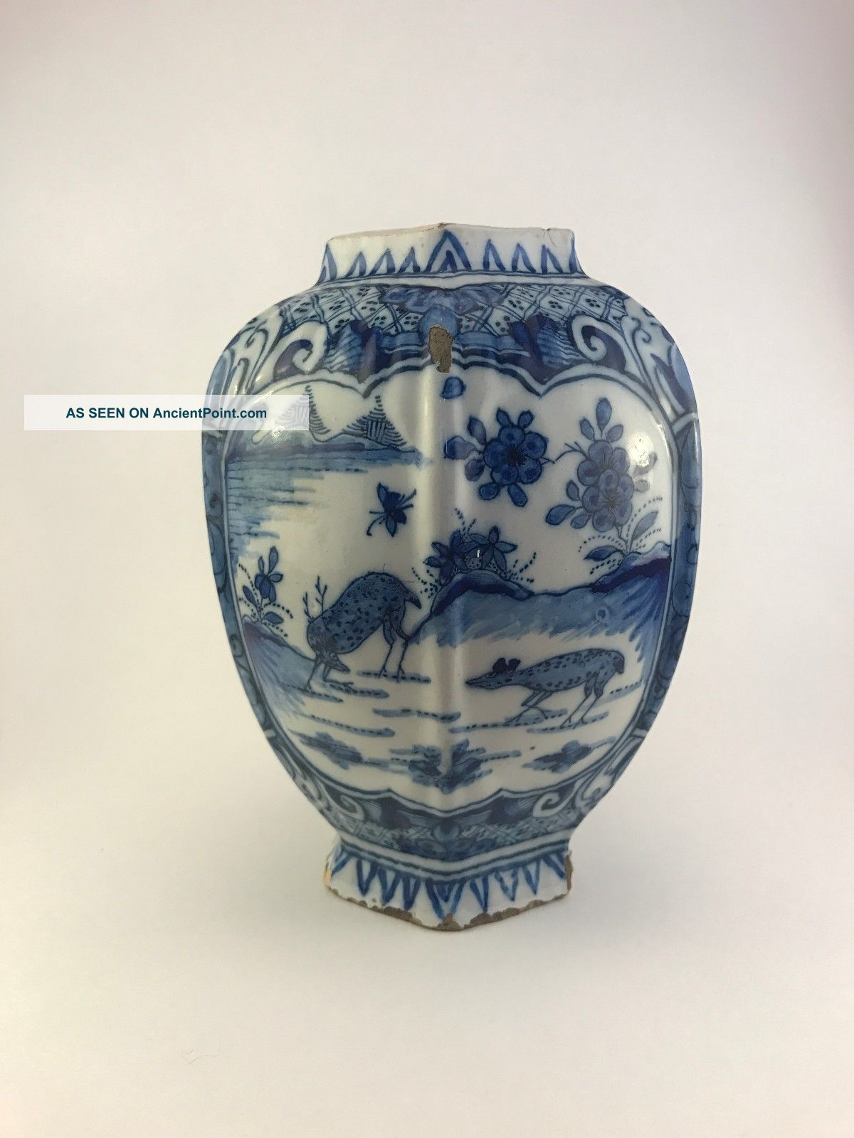 Antique Delft Vase Blue And White,  17th/18th C,  Stag And Doe Motif,  Late 1600 ' S Other Antique Ceramics photo