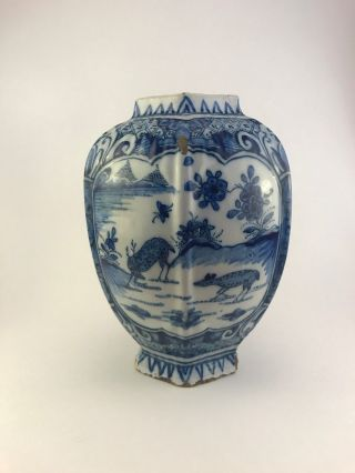 Antique Delft Vase Blue And White,  17th/18th C,  Stag And Doe Motif,  Late 1600 ' S photo