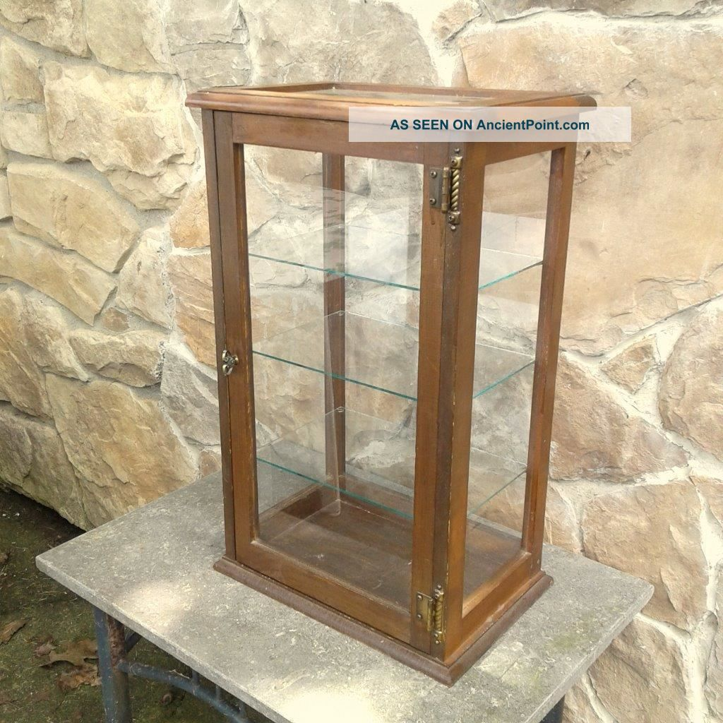 Table Top Display Show Case With Glass Shelves Pine Vintage 1970 Era Display Cases photo