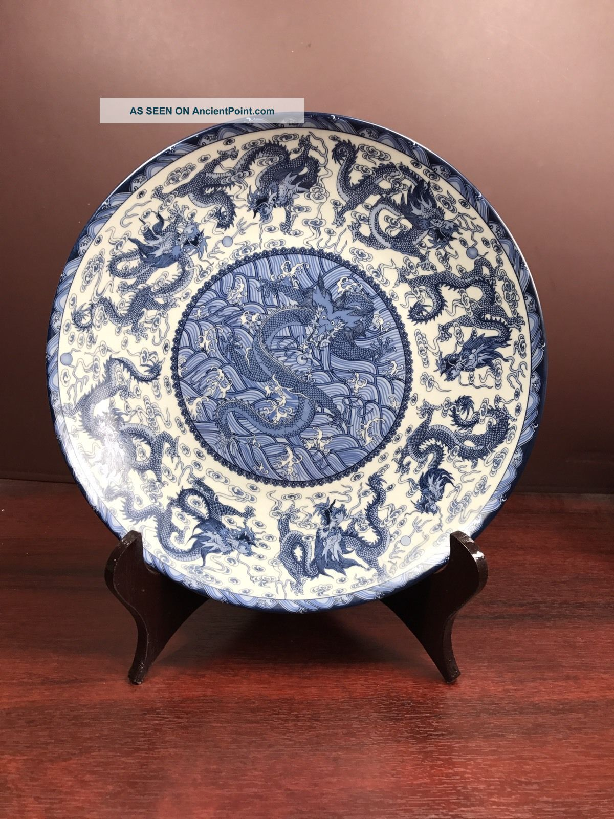 Handmade Chinese Nine Dragon Round Plates (with Stand) Vases photo