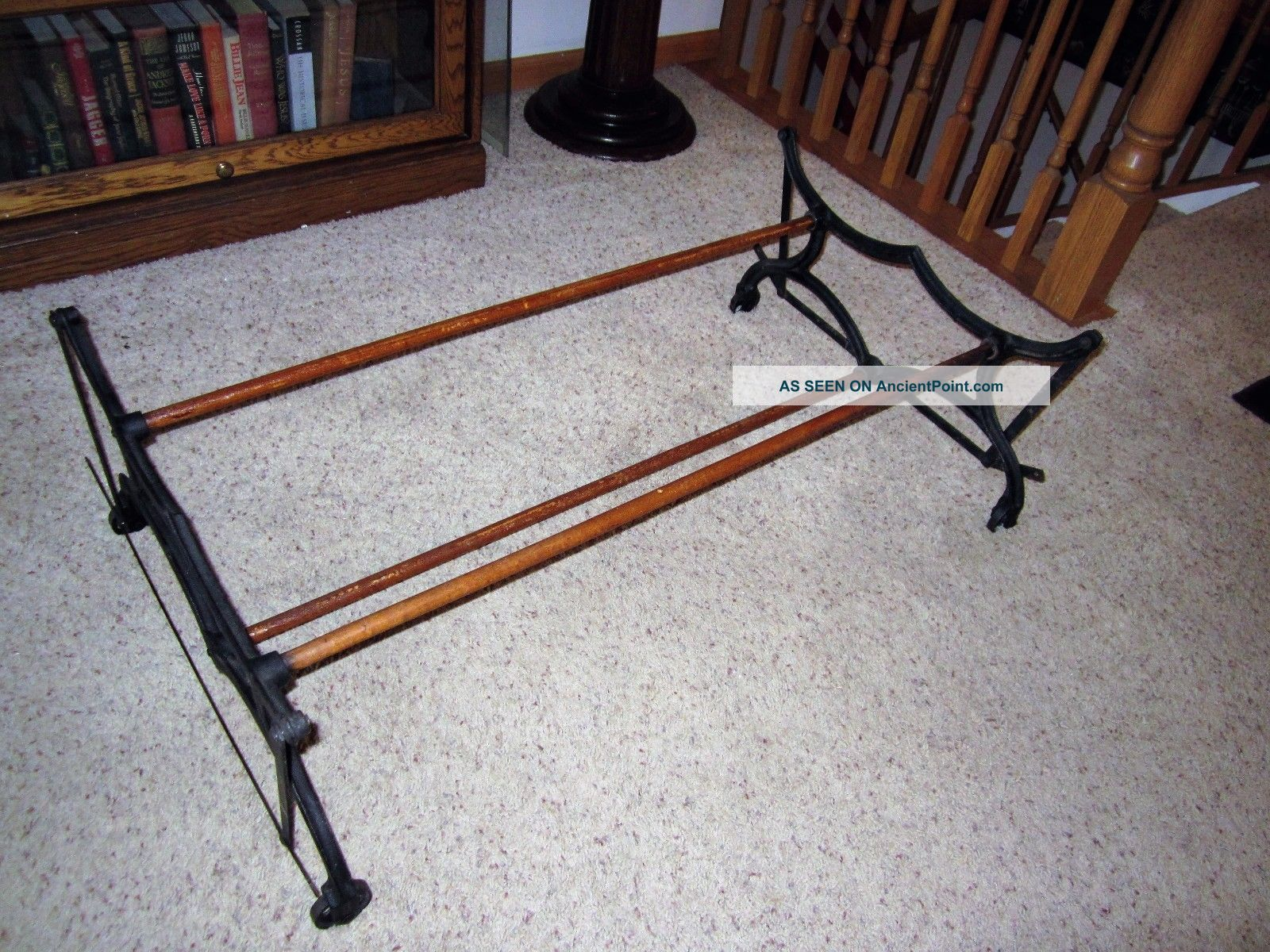 Victorian Cast Iron Wood Mystery Primitive Coffee Table Base Laundry Rack Holder 1800-1899 photo