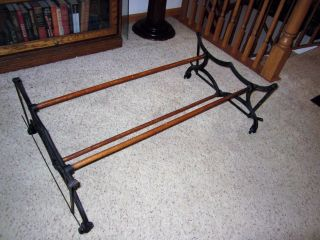 Victorian Cast Iron Wood Mystery Primitive Coffee Table Base Laundry Rack Holder photo