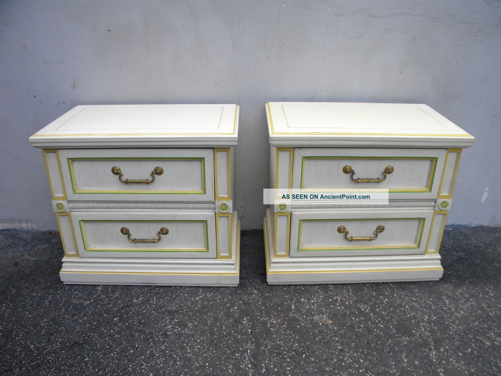 Large French Painted Nightstands End Side Tables 5231 Post-1950 photo