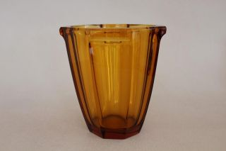 Vintage Amber Celery Glass Vase Eight - Sided Vase photo