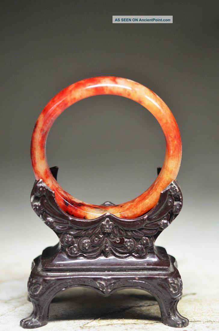 Elegant Chinese Old Jade Hand Carved Bracelets Oo11 Bracelets photo