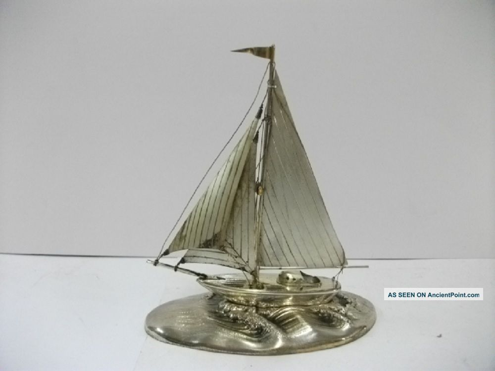 The Sailboat Of Silver Of The Most Wonderful Japan.  Japanese Antique. Other Antique Sterling Silver photo
