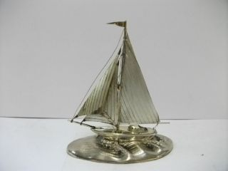 The Sailboat Of Silver Of The Most Wonderful Japan.  Japanese Antique. photo