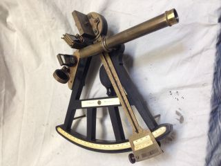 Antique Octant Ebony & Inlay - - 1850,  S Kosbu Hamburg - - Looks Vgc photo