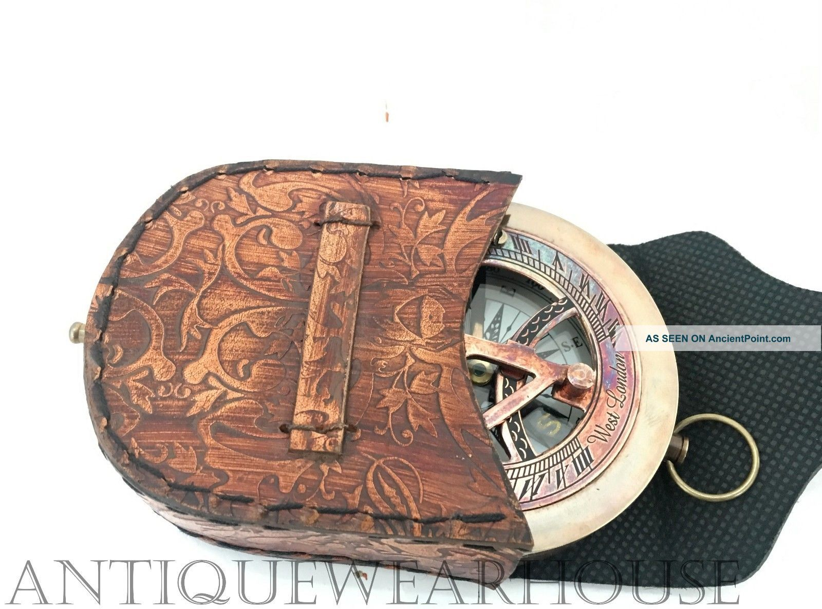 Nautical Astrolabe Antique Brass Compass With Leather Case Vintage Decor Compasses photo