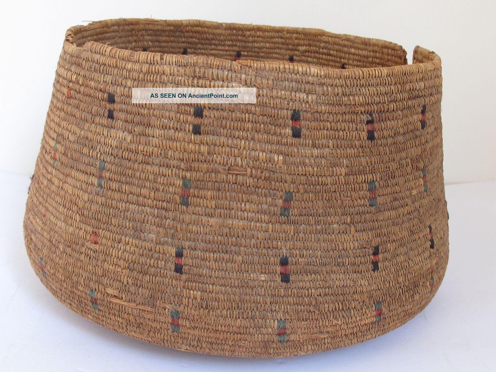 Native Eskimo Sea Grass Basket C.  1900 Native American photo