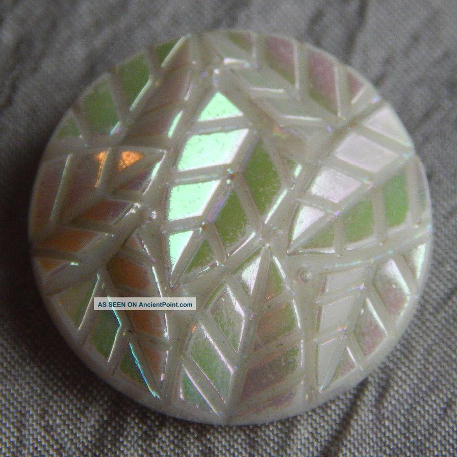 Antique Vintage Glass Button Iridescent Leaves 217 - A Buttons photo