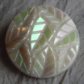 Antique Vintage Glass Button Iridescent Leaves 217 - A photo