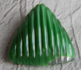 Vintage Glass Button Green Triangle 237 - A photo