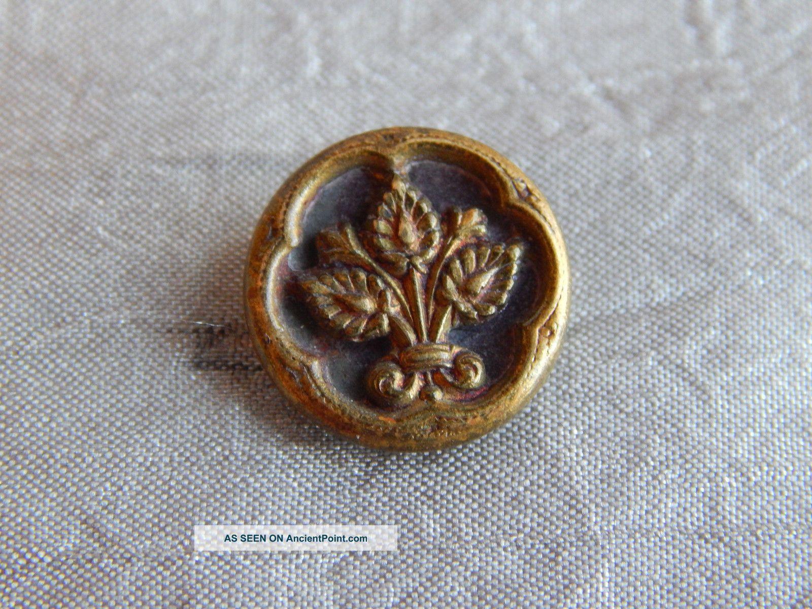 Antique Vintage Brass Picture Button Leaf Flower 1319 - A Buttons photo