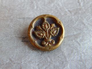 Antique Vintage Brass Picture Button Leaf Flower 1319 - A photo