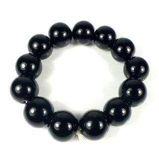 Collectibles Obsidian Jade Carving Decorative Bead Bracelet 16mm photo