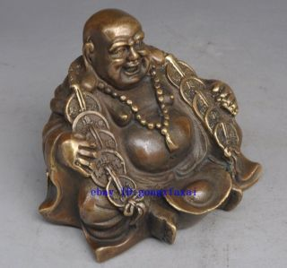China Buddhism Temple Brass Wealth Yuanbao Money Lucky Maitreya Buddha Statue photo